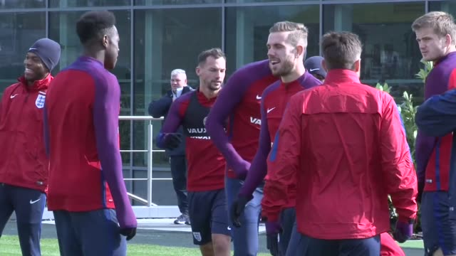 England train ahead of friendly against Netherlands ENGLAND London Enfield Tottenham Hotspur Training Centre EXT England football squad along onto...