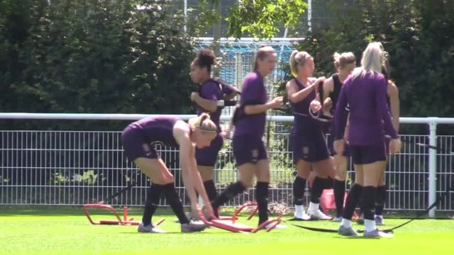 england train ahead of their women's world cup quarter-final against norway in le havre. - cup stock videos & royalty-free footage