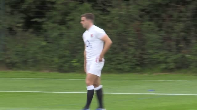 england train at clifton college sports ground in bristol ahead of saturday's rugby world cup warmup game against wales in cardiff owen farrell owen... - practising stock videos & royalty-free footage
