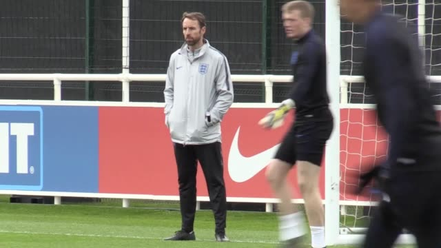england train at st george's park ahead of their european qualifiers against czech republic and montenegro. callum hudson-odoi and declan rice were... - international team soccer stock videos & royalty-free footage