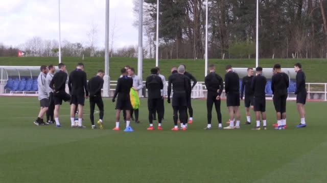 England train at St George's Park before flying to Montenegro for Monday's Euro 2020 qualifier in Podgorica Jordan Henderson joined the squad ahead...
