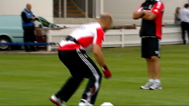 England training ahead of first test against India ENGLAND London Lord's Cricket Ground EXT Wide shots of training session / Stuart Broad bowling in...