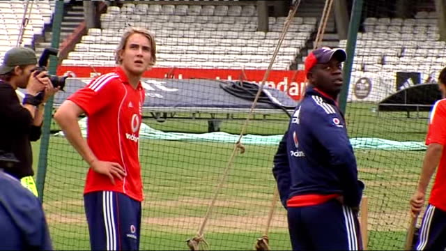 England training and interview Closeup of Broad England cricketers by nets including Bopara Samit Patel Harmison Closeup of Alastair Cook