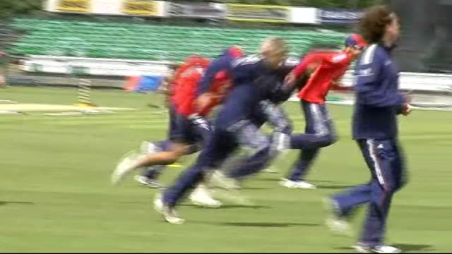 Durham The Riverside EXT Various of England cricketers doing training exercises Peter Moores James Anderson running Ryan Sidebottom bowling Kevin...