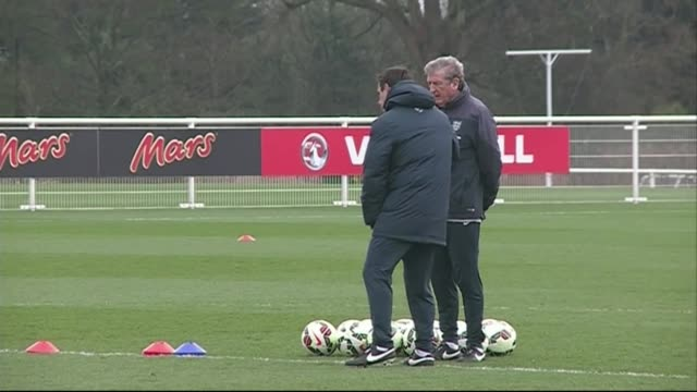 London Enfield EXT Various shots of England training session including Wayne Rooney Theo Walcott Andros Townsend Danny Wellbeck / Roy Hodgson...