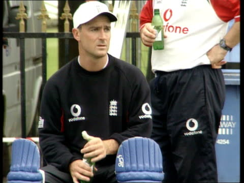 manchester old trafford ext general views of england cricket squad training in nets including graham hick andrew flintoff darren gough nick knight... - croft stock videos & royalty-free footage