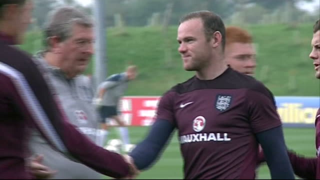 Staffordshire St George's Park EXT England training including shots of Roy Hodgson Wayne Rooney Jack Wilshere Raheem Sterling Danny Wellbeck Daniel...