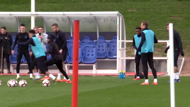 England training footage a day before their opening Euro 2020 qualifier against the Czech Republic Marcus Rashford was the only injury absentee