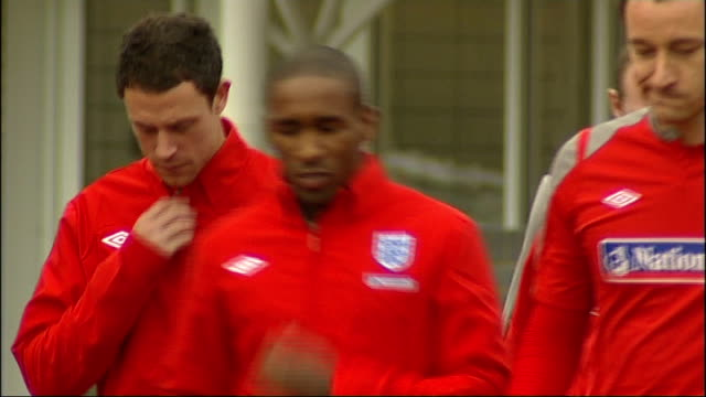 england training session capello walks out on to training pitch / england players out on to training pitch including jermain defoe john terry james... - semi circle stock videos & royalty-free footage