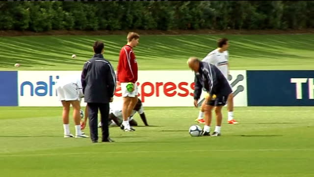 England training session More of England players training including Gerrard Heskey and Downing as watched by Capello / Passing game featuring Beckham...