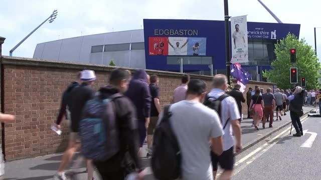 1st ashes test: australia fight back after shaky start; england: birmingham: edgbaston: ext vox pops sot fans arriving at the cricket ground.... - shaky camera stock videos & royalty-free footage