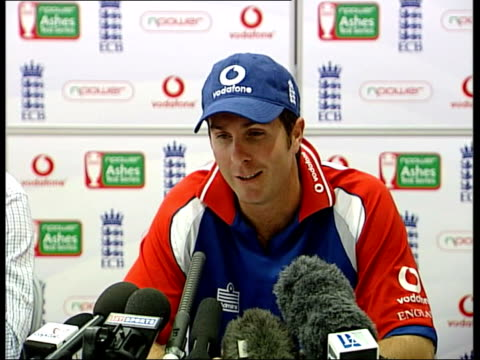 preview of final ashes test match england london int michael vaughan press conference sot king of the microphone great player what more can you say... - test cricket stock videos & royalty-free footage