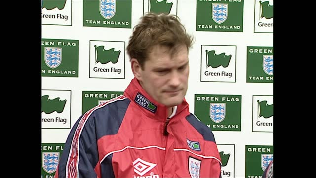 gvs england team training and press conference; england: ext gvs players doing stretching exercises including paul gascoigne gvs players doing... - autographing stock videos & royalty-free footage