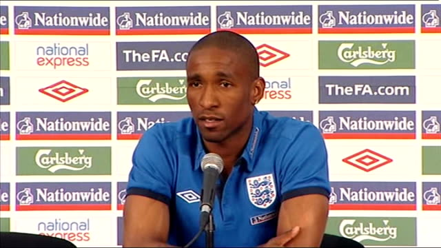 england v germany buildup jermain defoe press conference defoe press conference sot none of the boys had a drink before the game / the manager is... - game of chance stock videos & royalty-free footage