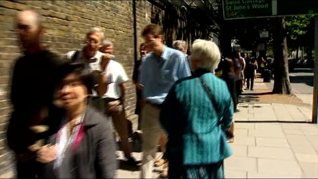 england win first test england london lord's cricket ground ext wide shot of people queuing outside lord's cricket ground shot past queue of people... - lords cricket ground stock videos and b-roll footage