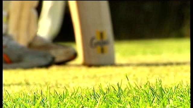 Second test Day 5 jellybean row ENGLAND Nottingham Ellerslie Cricket Club OVERLAY 'Jerusalem' sung by choir Cricketer batting at wicket during...