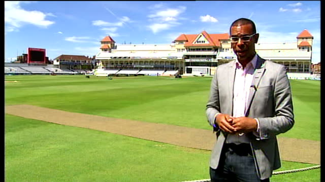 second test day 5 jellybean row trent bridge ext reporter to camera - day 5 stock videos and b-roll footage