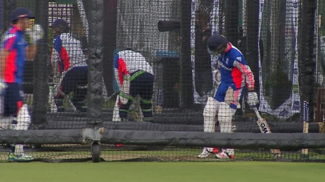 England players train in nets ENGLAND London Lord's cricket ground EXT Various of the England cricket team practising in the nets before their test...