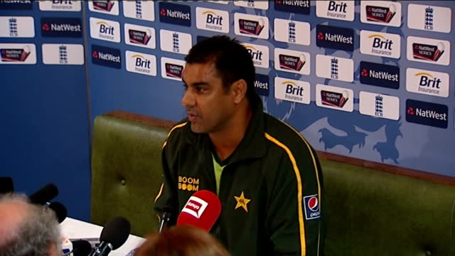 stockvideo's en b-roll-footage met fourth one day international / corruption allegations int waqar younis press conference sot - getal 4