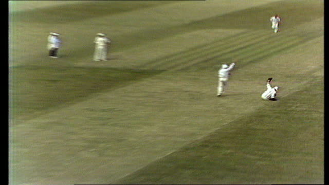 """england v pakistan test - pakistan 1st innings; england: edgbaston sadiq in safety helmet bats and is caught: old to """"m"""" - caught taylor: old to... - inning stock videos & royalty-free footage"""