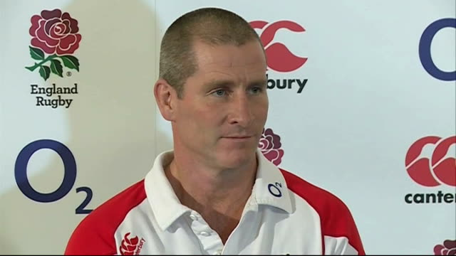 stockvideo's en b-roll-footage met england v samoa lancaster press conferences england surrey pennyhill park int stuart lancaster press conference sot looks ahead to the england rugby... - samoa