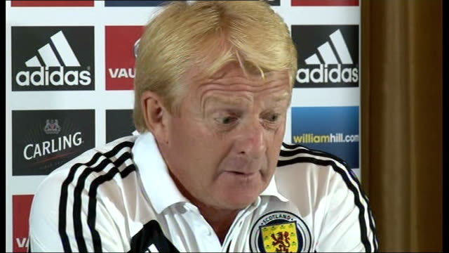 england v scotland friendly match preview int gordon strachan press conference sot - ゴードン ストラハン点の映像素材/bロール