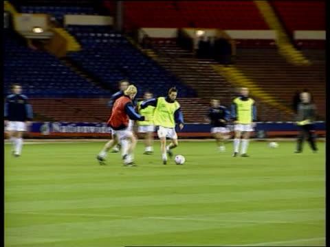 england v scotland itn england london wembley stadium mv 'wembley welcomes the scotland international team' on scoreboard pull out team training on... - euro 2000 stock videos & royalty-free footage
