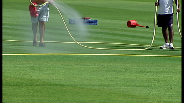 england v south africa: kevin pietersen row ahead of third test; london: lord's cricket ground: ext general view of lord's cricket ground and empty... - グランドキーパー点の映像素材/bロール