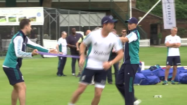 third test England training at Lords ENGLAND London Lords EXT Various shots of England cricketers training featuring close ups of Alastair Cook...