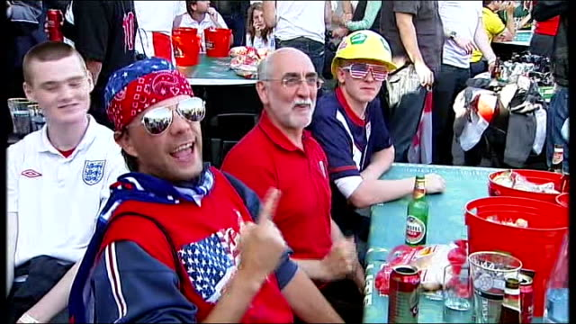 england v usa buildup various meats cooked on barbeque england supporters drinking lager at barbeque male england fan shouting england sot group of... - media interview stock videos and b-roll footage