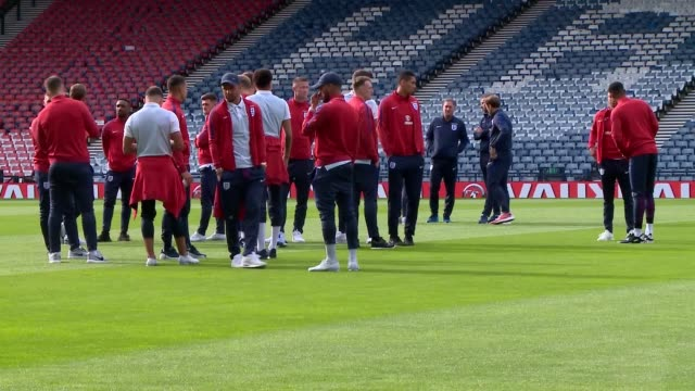 england walk around hampden park ahead of their world cup qualifier against scotland - world cup qualifying round stock videos and b-roll footage