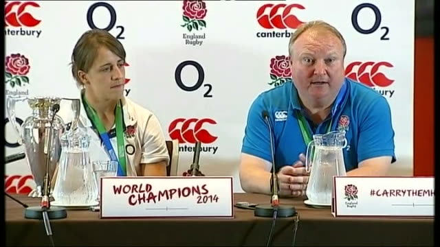stockvideo's en b-roll-footage met england win women's rugby world cup: players return home; 18.8.2014 england: london: twickenham: int gary street interview sot - atlete