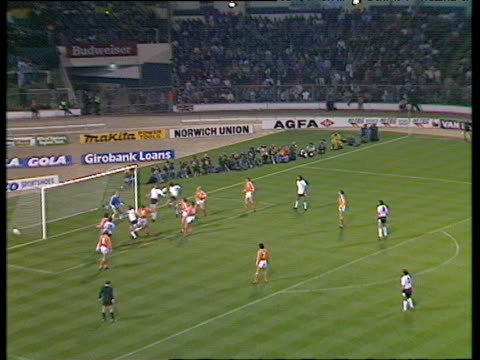 England winger Trevor Steven takes right foot inswinging free kick central defender Tony Adams scores with close range header during international...