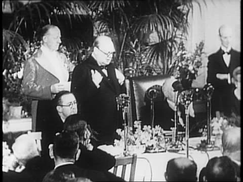 england / winston churchill and clementine churchill observe at uniformed fire fighters and air raid wardens assemble in large rally in city / at... - 1941 stock videos & royalty-free footage