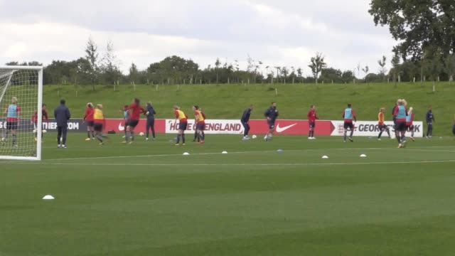 England Women hold a media day ahead of next week's 2019 World Cup qualifier against Russia Shots of the team training at St George's Park