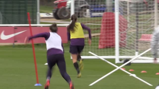 england women train at st george's park ahead of their friendlies against canada and spain includes shots of lucy bronze steph houghton jill scott... - women's football stock videos & royalty-free footage