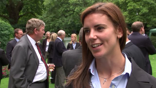 England women's cricket team and England women's rugby team arrive at Number 10 Anya Shrubsole interview SOT Team members mingling in garden Sarah...