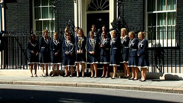 England Women's Cricket Team at Downing Street ENGLAND London Downing Street EXT Various of England Women's Cricket Team arriving at Downing Street/...