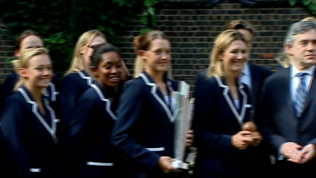 England Women's Cricket Team at Downing Street More of Gordon Brown meeting and congratulating members of England Women's Cricket Team/ Gordon Brown...