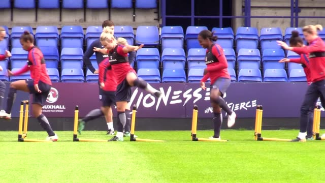 england women's manager mark sampson discusses the team's upcoming match against russia the team trains at st george's park in burtonupontrent... - women's football stock videos & royalty-free footage