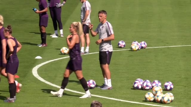 england women's training ahead of their world cup semi-final against the usa in lyon on tuesday. - semifinal round stock videos & royalty-free footage