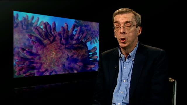 england worried about cost of hepatitis c drug; charles gore interview sot - rnaウイルス点の映像素材/bロール