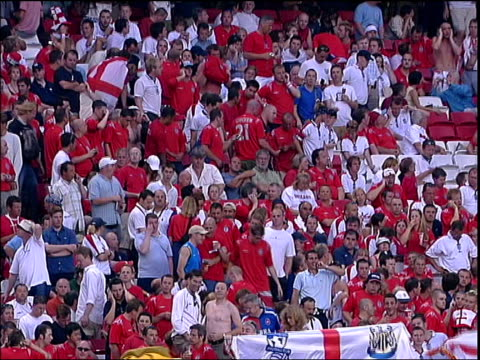 england/croatia football fans during second half of england/croatia euro 2004 portugal lisbon general views of football stadium england football fan... - fan enthusiast stock videos & royalty-free footage