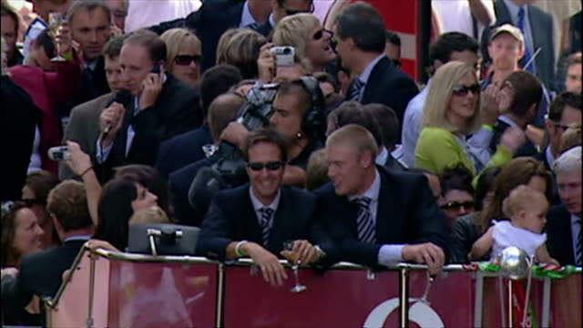 england's ashes winning players celebrate their victory with fans shows exterior shots england victory parade with the men's cricket bus followed by... - england stock videos & royalty-free footage