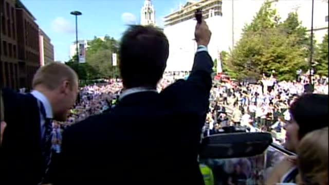 England's Ashes winning players celebrate their victory with fans Shows exterior shots the England team on an open top bus with Michael Vaughan...