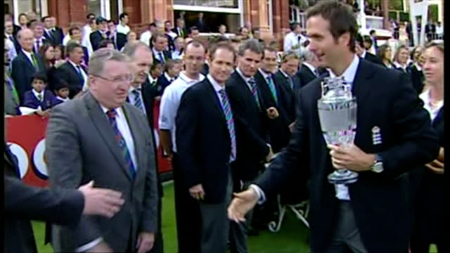 england's ashes winning players celebrate their victory with fans. shows exterior shots michael vaughan walking with the waterford crystal ashes... - england stock videos & royalty-free footage