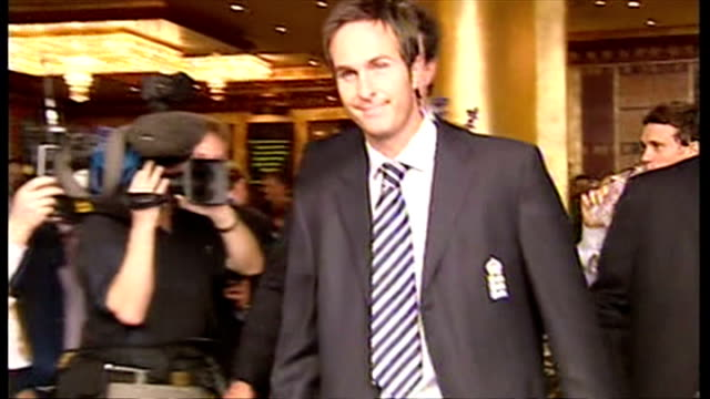 england's ashes winning players celebrate their victory with fans. shows exterior shots the england cricket team leaving their hotel led by michael... - ashes test stock videos & royalty-free footage