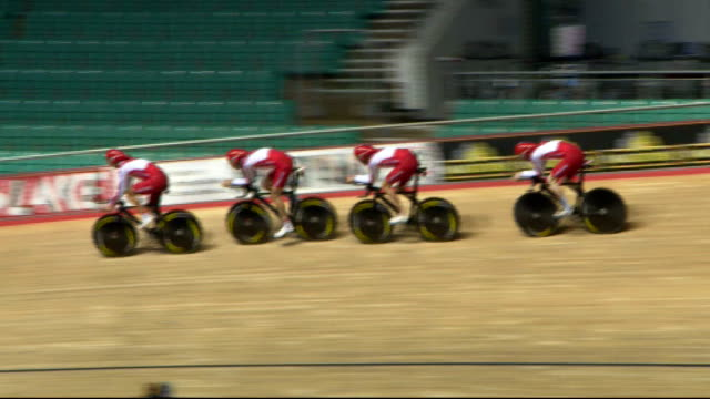england's cyclists train at manchester ahead of commonwealth games; england: manchester: int engliand cyclists training at velodrome - commonwealth games stock videos & royalty-free footage