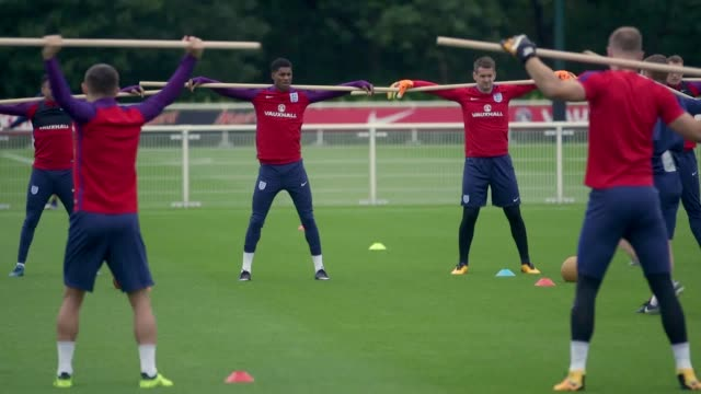 england's national football team trains at tottenham hotspur's training ground ahead of their world cup qualifying match against slovakia at wembley... - national team stock videos & royalty-free footage