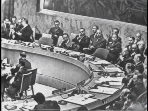 england's representative to the united nations security council selwyn lloyd discusses russian intervention in hungary at the u.n. meeting. - 1956 stock videos & royalty-free footage